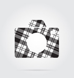 Grayscale tartan isolated icon - camera vector