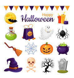 Halloween decoration cartoon color vector