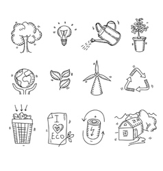 Hand drawn doodle sketch ecology organic icons eco vector