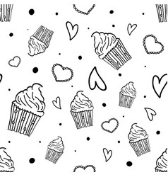 hand drawn seamless pattern with cupcakes hearts vector image