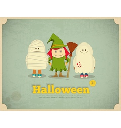 happy halloween retro card with witch mummy and vector image