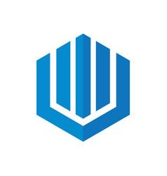 Hexagon home building company logo vector
