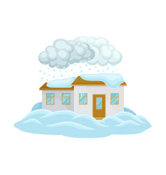 House undergoing natural disaster like snow drifts vector