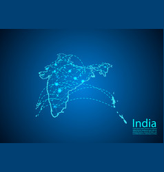 India map with nodes linked by lines concept of vector