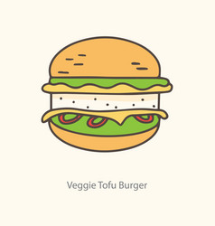 isolated tofu burger icon symbol label vector image