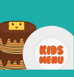 kids menu tasty pancake breakfast vector image vector image