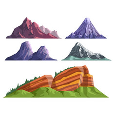 Landscape constructor set with various mountains vector