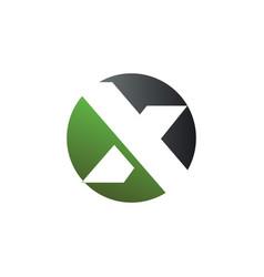 Letter x round logo design concept template vector