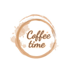 Light brown handwritten lettering coffee time as vector