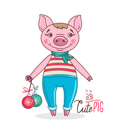 little cute pig holding christmas balls vector image