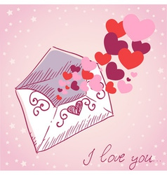 Love letter Valentine retro card vector image