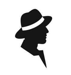 Man in a hat -black silhouette on white background vector