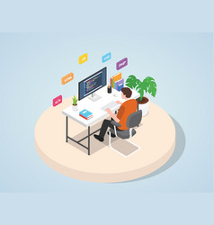 Man working on laptop programming coding website vector