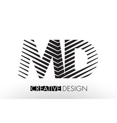 Md m d lines letter design with creative elegant vector