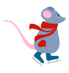 Mouse skating on white background vector