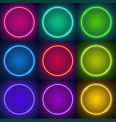 nine round neon frames vector image