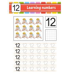 Number 12 trace and write handwriting practice vector