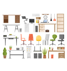 Office furniture set isolated vector