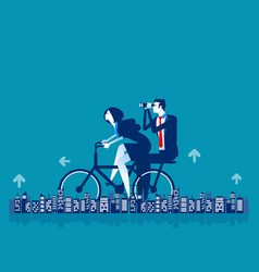 Office people riding bicycle healthy lifestyle vector
