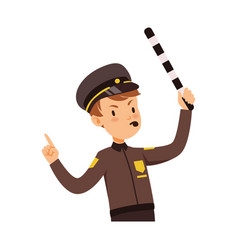 police officer character managing road traffic vector image