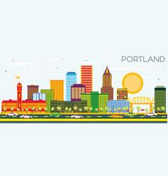 Portland oregon city skyline with color buildings vector