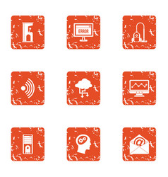Remote mailroom icons set grunge style vector