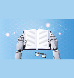 robot hands holding note book humanoid reading vector image