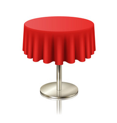 Round red clean table restaurant round table with vector
