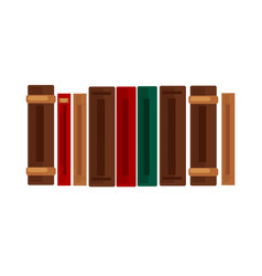 row of books with brown red and green covers vector image