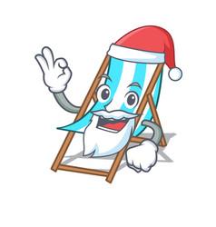 Santa beach chair mascot cartoon vector