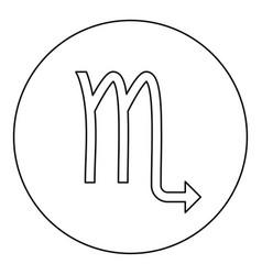 scorpion symbol zodiac icon black color in round vector image