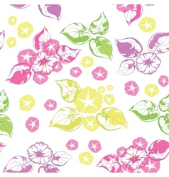 Seamless background flowers and leaves vector image
