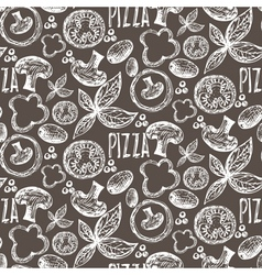 seamless pattern hand drawn delicious pizza vector image
