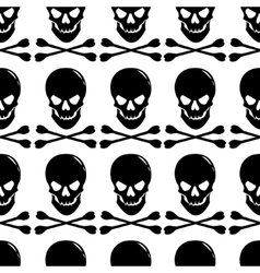 Seamless pattern with skull and crossbones on vector image