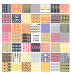 Set 48 ethnic seamless patterns vector