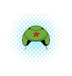 Soviet military cap earflaps icon comics style vector