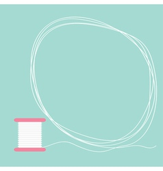 Spool thread round frame flat design love card vector