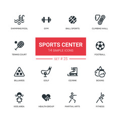 sports center - modern simple icons pictograms vector image