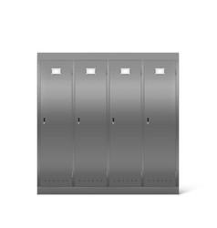 Steel lockers in school corridor or changing room vector