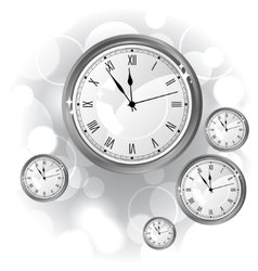 Stylish background with silver glossy watches vector image vector image