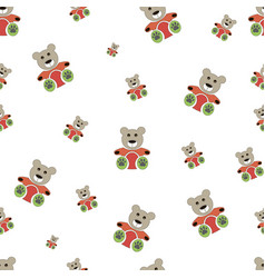 teddy bear seamless pattern on white vector image