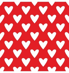 Tile cute pattern with white hearts red background vector