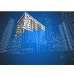 Townscape wireframe vector image