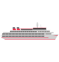Transatlantic cruise liner ship isolated flat vector
