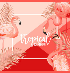 tropical flamingo birds golden palm leaves banner vector image