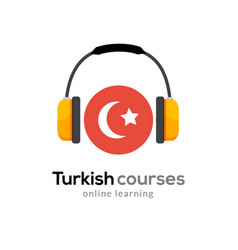 Turkish language learning logo icon with vector