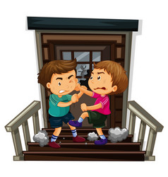 two boy fighting on staircase vector image