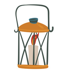 vintage decorative lantern base and candle with vector image