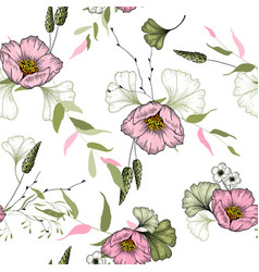 vintage flowering background hand-sketched vector image