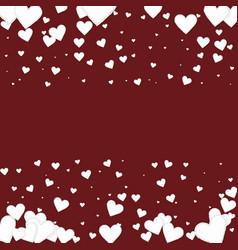 White heart love confettis valentines day border vector